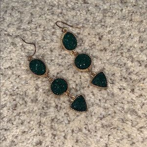 Emerald and Gold Earrings from ModCloth